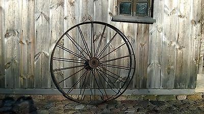One (Each) Wheel Vintage Antique Iron Metal 18 Spoke Wagon Wheel 54 inches v.old