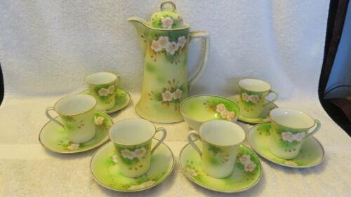 Chocolate Pot set... POT, 6 Cups & Saucers, & a Bowl, Porcelain