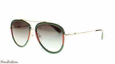 Gucci Women Aviator Sunglasses GG0062S 003 Gold/Green Gradient Lens 57mm
