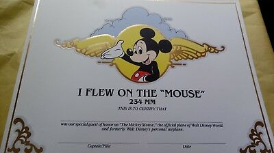 """Disney Certificate """"I Flew On the Mouse"""" 234MM official Plane of WDW with photo"""