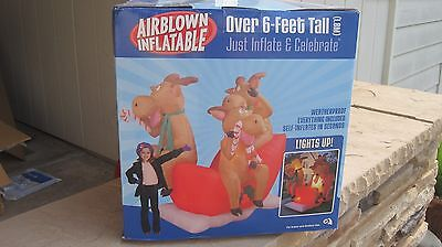 GEMMY OVER 6' THREE REINDEER ON SANTA'S SLEIGH AIRBLOWN INFLATABLE CHRISTMAS