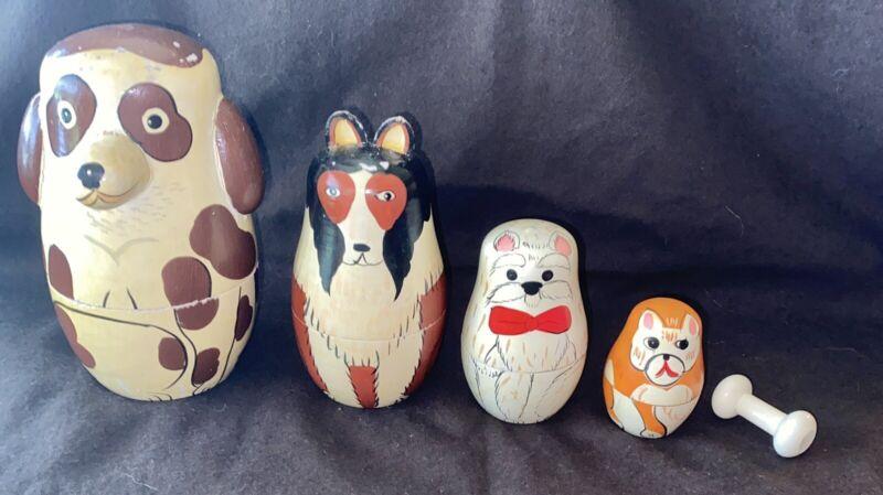 Vintage Nesting Dolls Dogs & Bone 5 Pieces