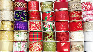 LARGE-SELECTION-GISELA-GRAHAM-WIDE-WIRED-EDGE-CHRISTMAS-RIBBON-1-0R-3-METRES