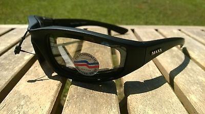 Maxx Motorcycle sunglasses Black clear lens foam padding ATV glasses goggles
