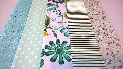 10 x MINT GREEN Fabric Jelly Roll Strips Polycotton Patchwork Quilting