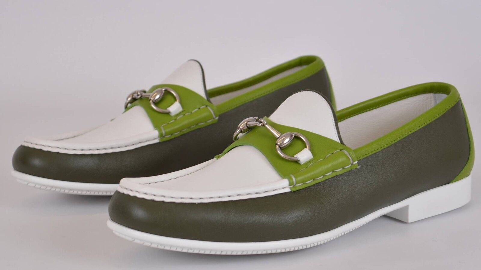 NEW Gucci Men's 337060 Green White Leather Horsebit Loafer Shoes 10.5 G 11.5 US 1