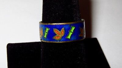 ANTIQUE ASIAN CS ENAMELED RING with VIBRANT BAMBOO MOTIF  *Circa 1900  Size 9