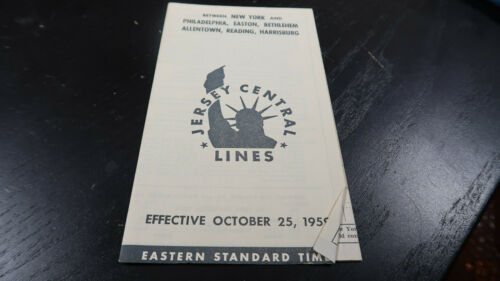 Public Timetable Jersey Central Lines Railroad October 25 1959