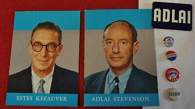 5 Adlai Stevenson Presidential Campaign Pinback Buttons, 2 Mini Posters Kefauver