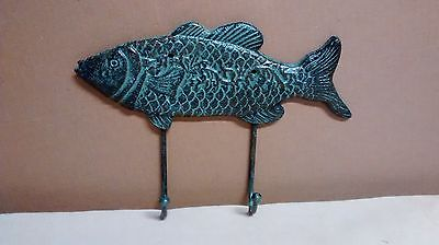 CAST IRON NAUTICAL Fish with 2 Hooks for towels hats or fishing rods  (Hooks For Hats)