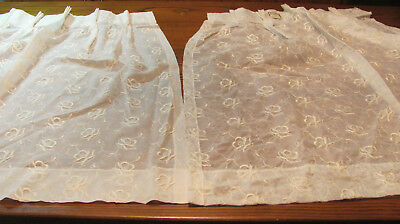 Pair Vintage Off White Embroidered Roses Pinch Pleat Curtains 24x36 Defect J5