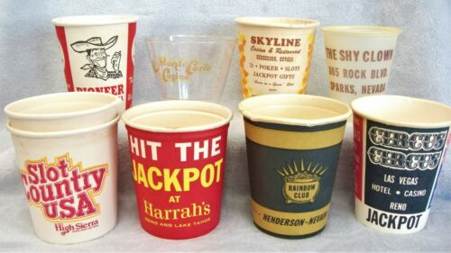 Huge Lot of 9 Vintage Nevada Hotel Casino paper coin cups RARE LQQK