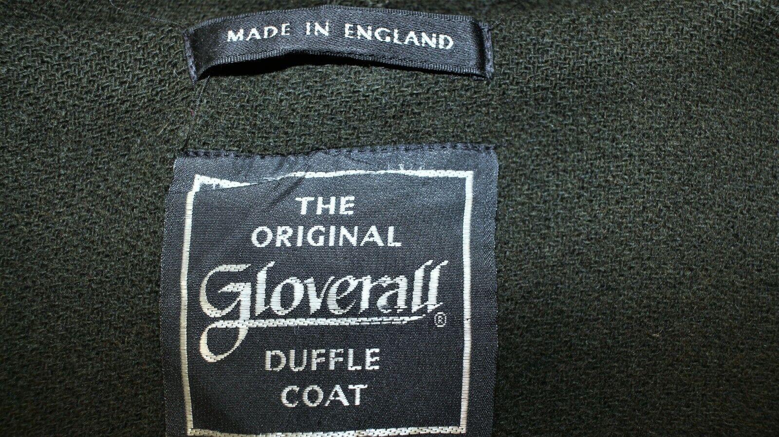 Duffle coat femme gloverall vtg 100% laine vert kaki taille l made in england
