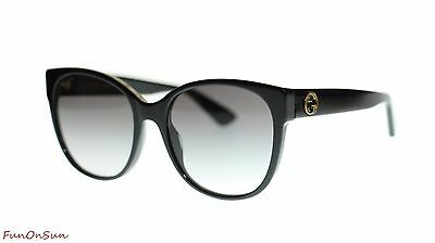Gucci Women Round Sunglasses GG0097S 001 Black/Grey Lens 56mm Authentic