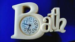 Vintage New Haven Quartz Bath Wall Clock Burwood Products - Works  Letters BEIGE
