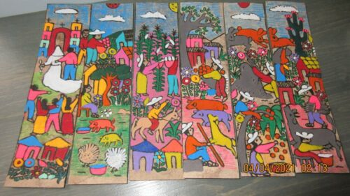 Bookmarks - Set Of Six - Handpainted On Amate Paper - Mexican Folk Art PEOPLE