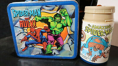 Aladdin Spiderman and Hulk Captain America Metal Lunchbox 1980