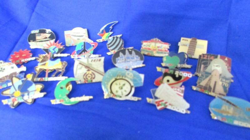 OFFICIAL  MILLENNIUM  YEAR 2000  HISTORY IN PINS LOT OF 22 COLLECTOR PIN