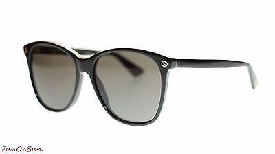 Gucci Women Square Sunglasses GG0024S 001 Black/Grey Lens 58mm Authentic
