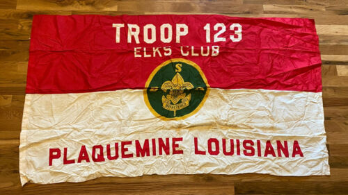 Vintage Boy Scouts of America Troop 123 Flag - Elks Club, Plaquemine Louisiana