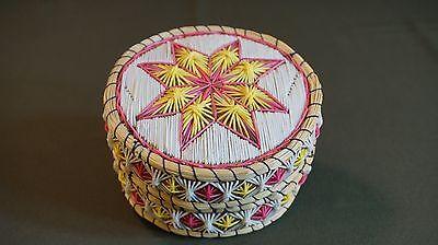 Very Colorful & Beautiful Native American Mi'kmaq Lidded Quill Birch Bark Basket