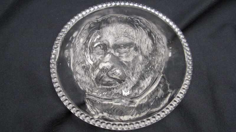 Rare 1880s Antique Pressed Glass Columbia Glass Findlay Dog 6 Inch Plate