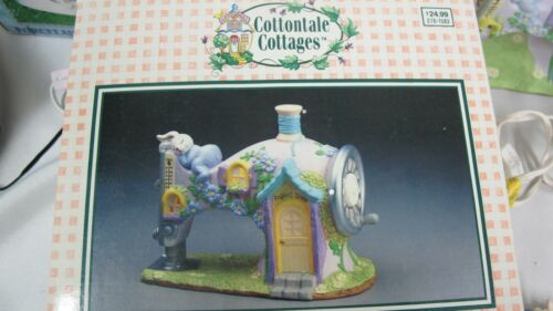 COTTONTALE COTTAGES FABRIC SHOP  EASTER VILLAGE SEWING MACHINE W FIGURES