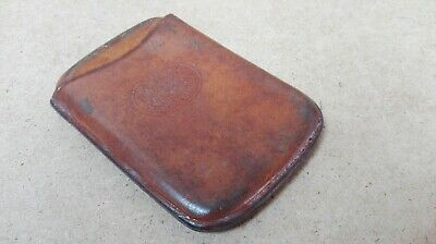 Vintage Leather Bound Crested Calling Card Case Wonderful Patina ID2017 B31