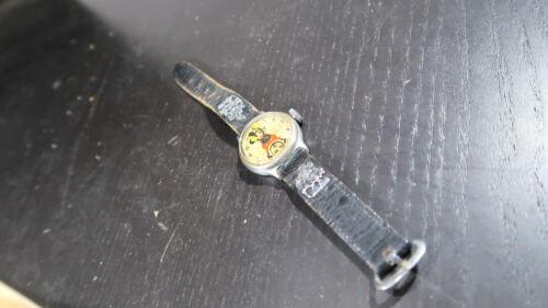 1930s Ingersoll Mickey Mouse Wristwatch Watch Leather band Pie Eye Fat Mickey