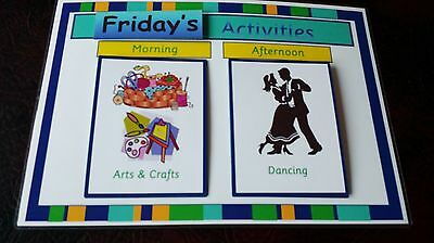 DAILY ACTIVITIES BOARD WITH 28 CARDS - CARE HOME- DEMENTIA/ELDERLY/SPECIAL - Need Daily Care
