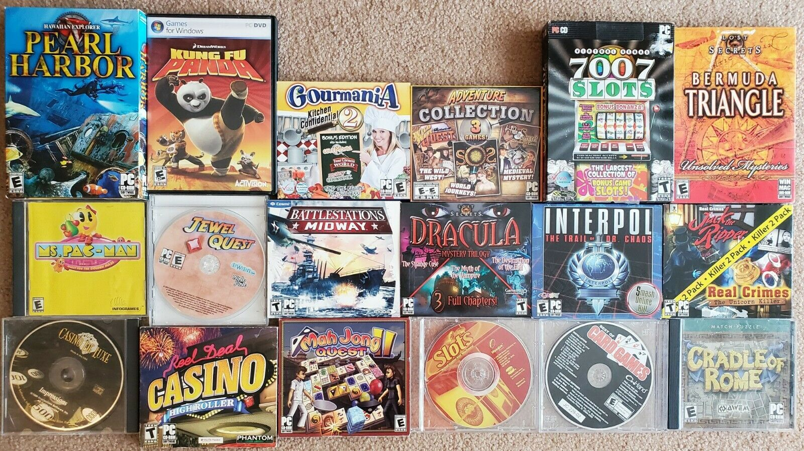 Computer Games -  Lot of 18 PC Computer Games Adventures /Casino /Mysteries /Cooking / Arcade etc
