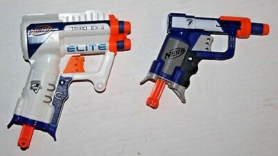 Lot 2 NERF N-Strike Soft Dart Guns White Triad EX-3 & Blue Jolt with 4 Darts