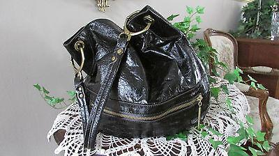(Oryany Lucy nero black Patent  shiny leather large Hobo Shoulder handbag)
