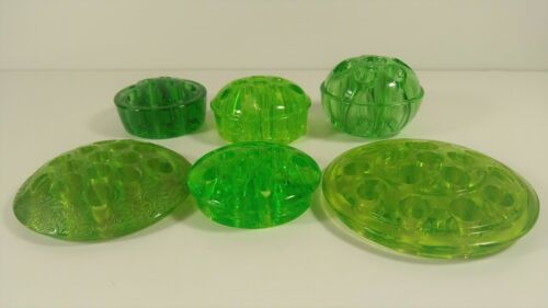 Vintage Green Glass Flower Frogs - Set of 6 - All different