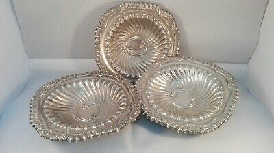 A set of Three Silver Plated Swirl Design Trinket Dishes ID2647 b01