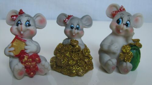 "Rare Figurines three mice, ceramics, 1.8-2.1""(3)"