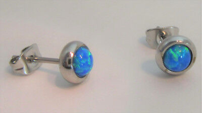 Surgical Stainless Steel Blue Opal Earring Studs Posts Ear Cartilage 20 - Surgical Steel Ear Posts