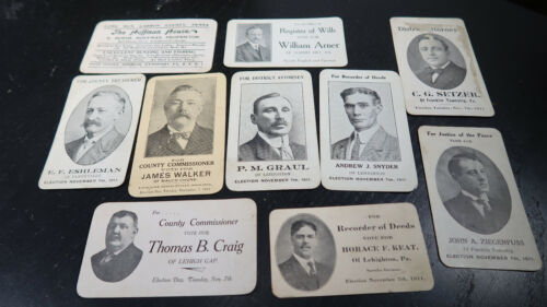 1911 Carbon Co PA Summit HIll Lehighton Mauch Chunk Election Calling Cards