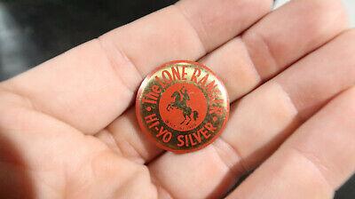 Lone Ranger 1938 Red Pin Button Brass Hi Yo Silver