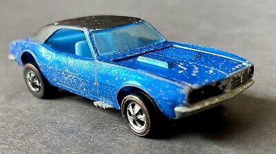 1968 RARE Hot Wheels Redline Custom Camaro BLACK ROOF & BLUE INTERIOR Sweet 16!