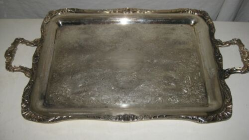 Large  Heavy Silver Plate  Footed  Tray Wm.ROGERS 291,  27""
