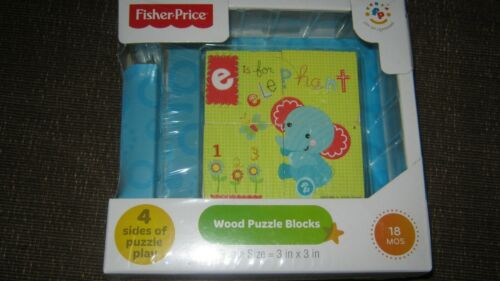 Fisher Price 4 Sided Wood Puzzle Blocks for Baby or Toddler