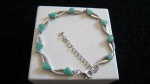 Beautiful sterling silver natural Emerald bracelet 17-21.5cm