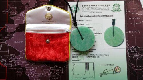 Natural Fei Cui(Jadeite Jade) Type A. Certificate. Jade Pendant.