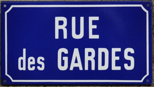 Old blue French enamel street sign plaque road name plate Gardes guards Moselle