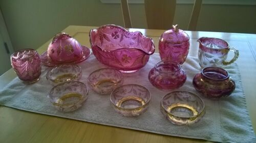 EAPG US Glass Delaware Cranberry Gold Gilt 12 Piece Set-Bowl-Butter-Sugar-Berry
