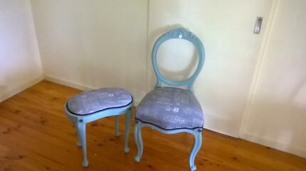 Decorative occassional chair and matching stool Coromandel Valley Morphett Vale Area Preview
