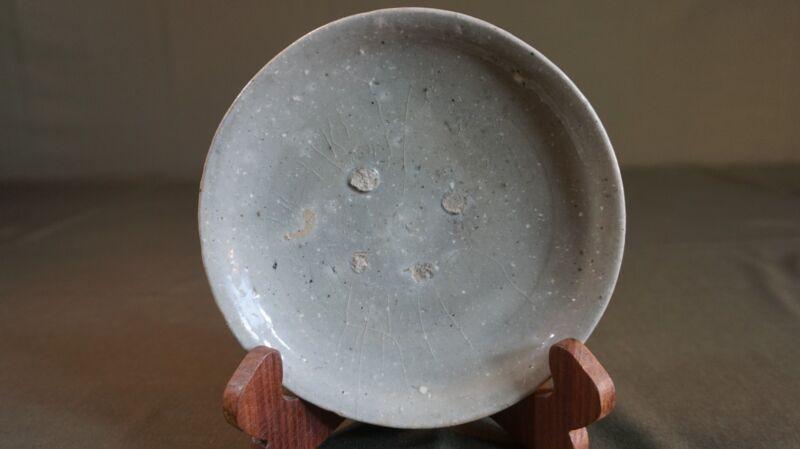 Fine Korean Koryo Dynasty Crackle Celadon Footed Bowl Plate 11th ~ 13th Century