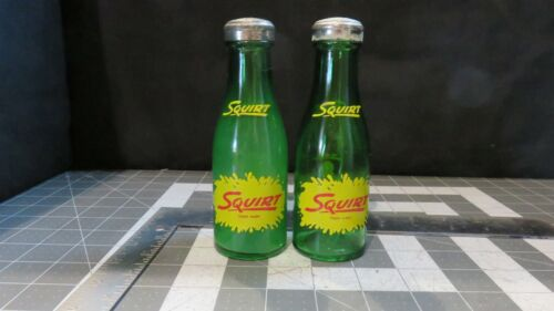 Vintage SQUIRT Grapefruit Soda Advertising Glass Salt & Pepper Shakers