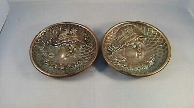 A Pair of Heavy Brass Art Nouveau Design Trinket Dishes ID2648 b01